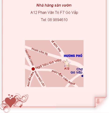 Địa chỉ nhà hàng trên đường Phan Văn Trị, nằm giữa đường Nguyễn Oanh và Nguyễn Thái Sơn.